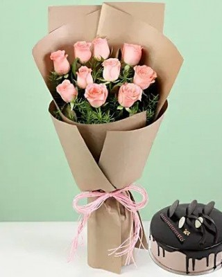 10 Pink Roses & Chocolate Cream Cake